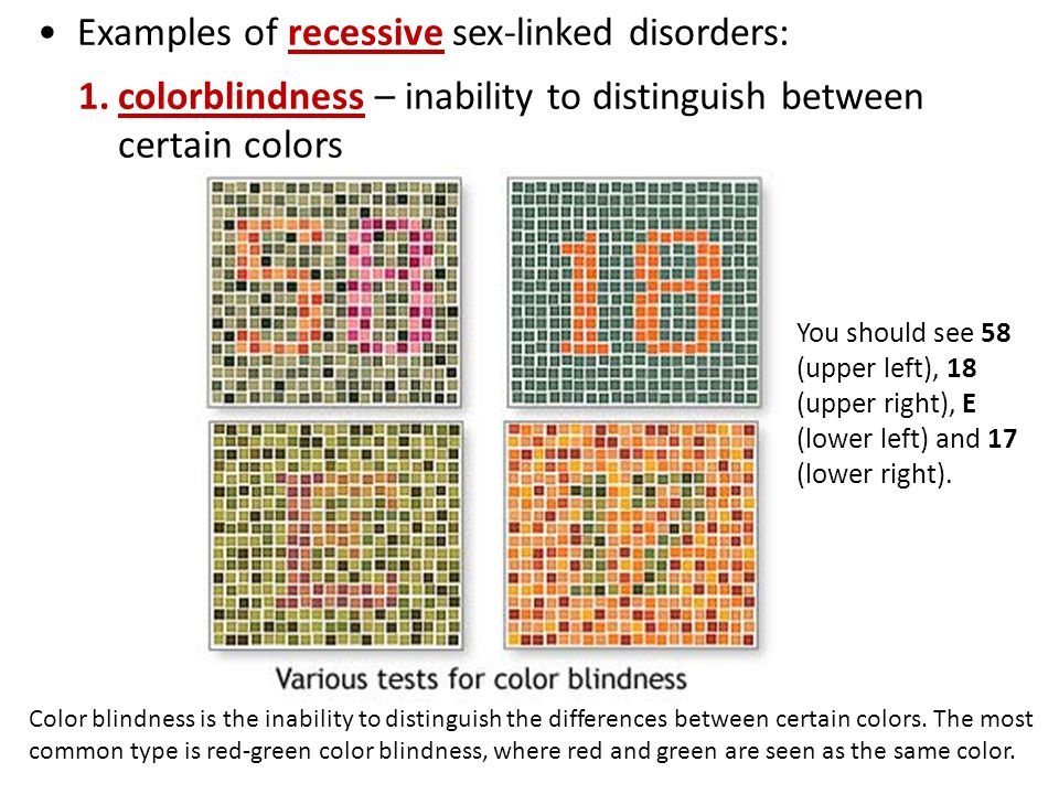 Examples of recessive sex-linked disorders: