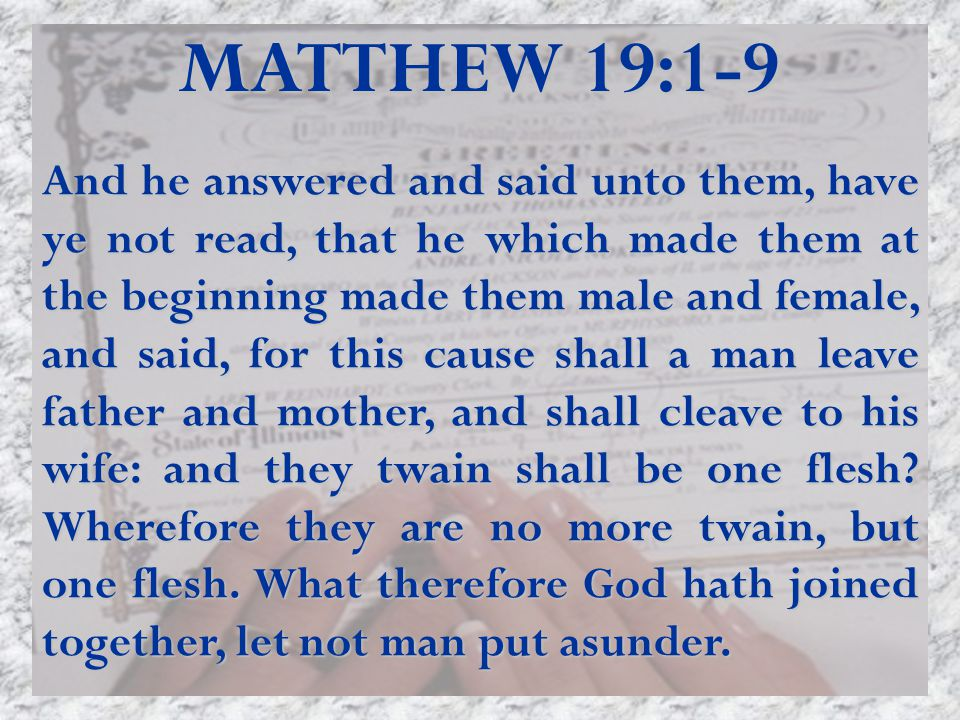 MATTHEW 19:1-9