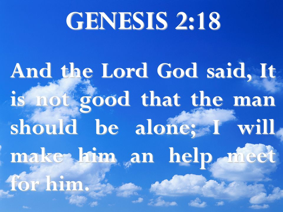 GENESIS 2:18 And the Lord God said, It is not good that the man should be alone; I will make him an help meet for him.