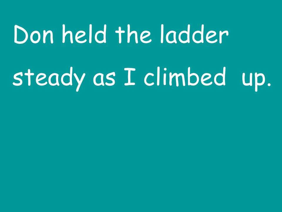 Don held the ladder steady as I climbed up.