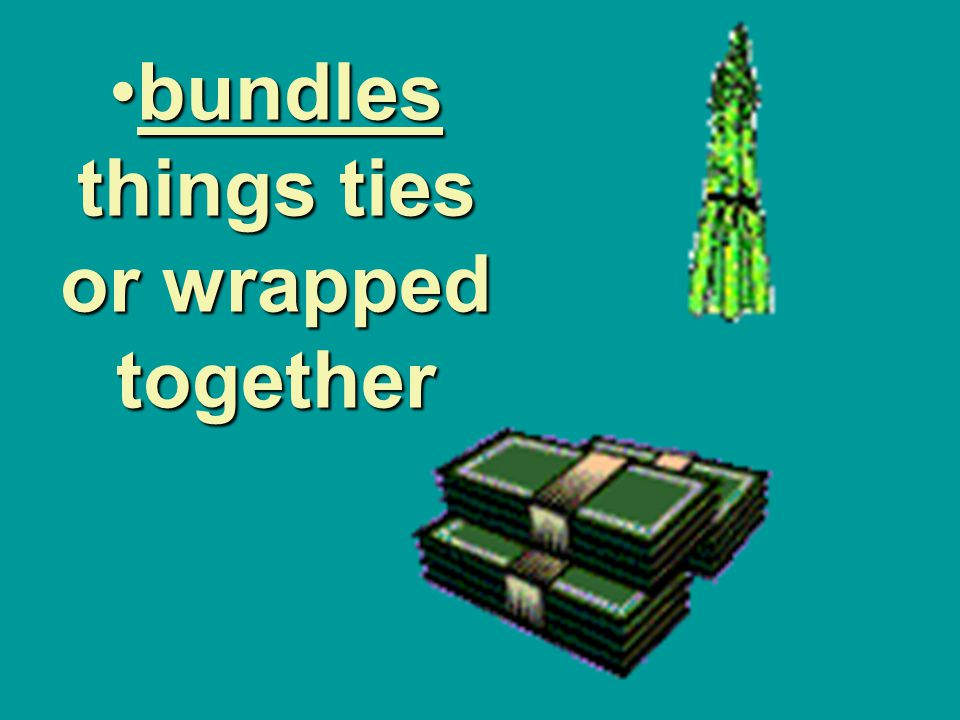bundles things ties or wrapped together