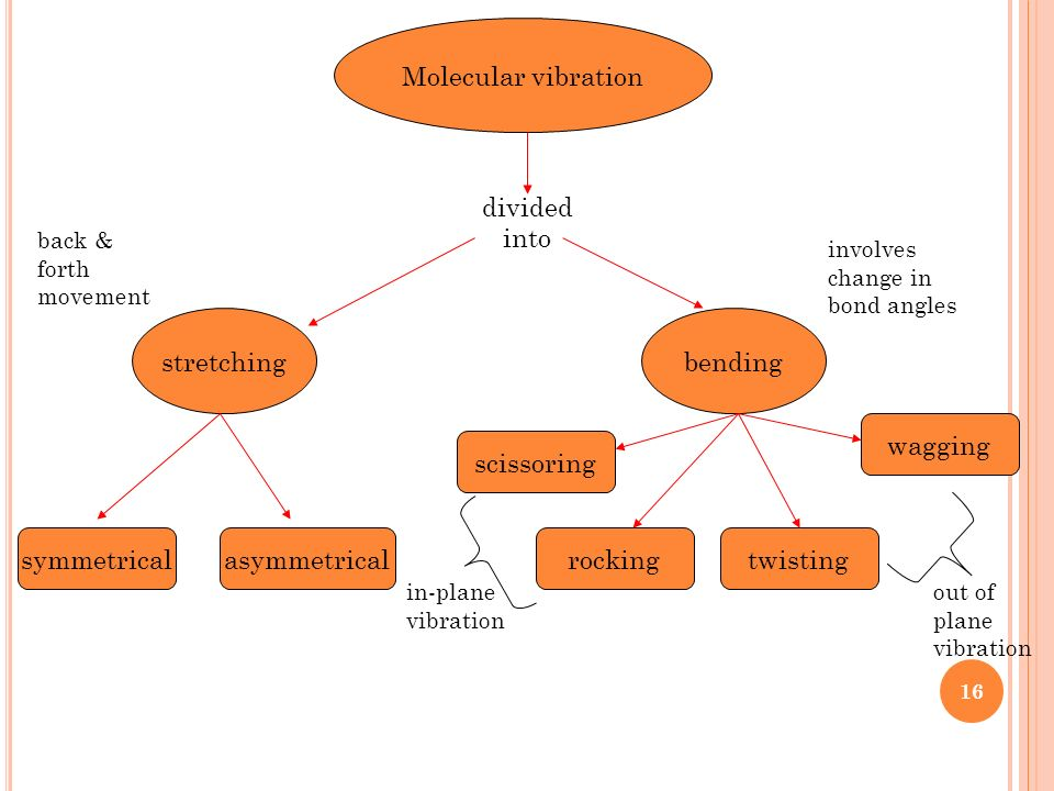 Molecular vibration divided into stretching bending wagging scissoring