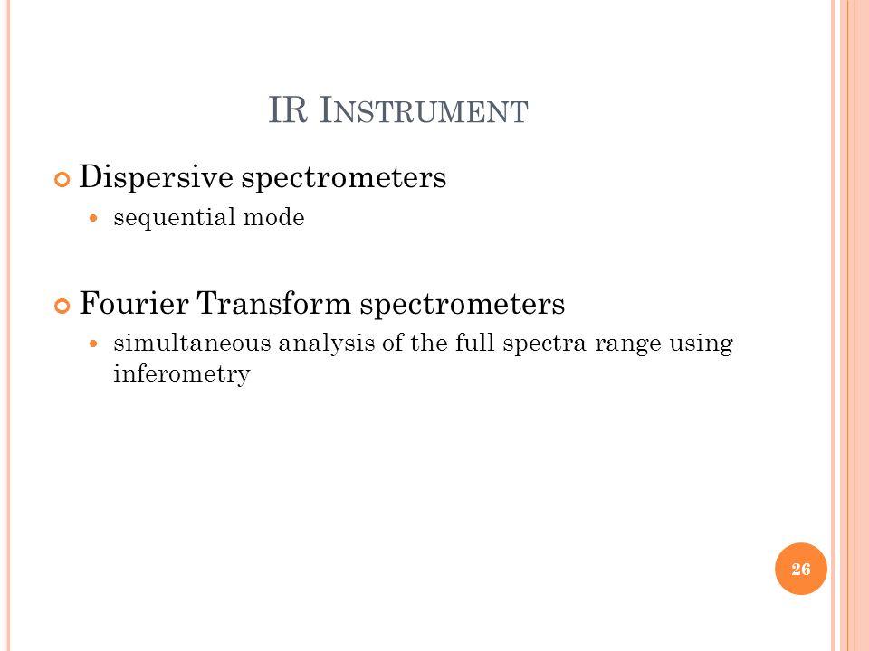 IR Instrument Dispersive spectrometers Fourier Transform spectrometers