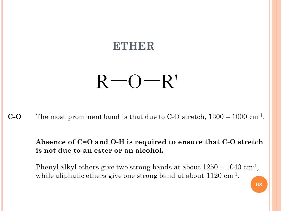 ETHER C-O The most prominent band is that due to C-O stretch, 1300 – 1000 cm-1. Absence of C=O and O-H is required to ensure that C-O stretch.