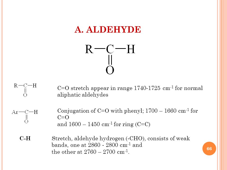 A. ALDEHYDE C=O stretch appear in range 1740-1725 cm-1 for normal aliphatic aldehydes. Conjugation of C=O with phenyl; 1700 – 1660 cm-1 for C=O.