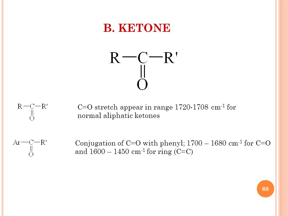 B. KETONE C=O stretch appear in range 1720-1708 cm-1 for normal aliphatic ketones. Conjugation of C=O with phenyl; 1700 – 1680 cm-1 for C=O.