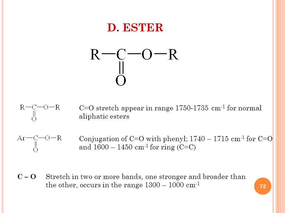 D. ESTER C=O stretch appear in range 1750-1735 cm-1 for normal aliphatic esters. Conjugation of C=O with phenyl; 1740 – 1715 cm-1 for C=O.