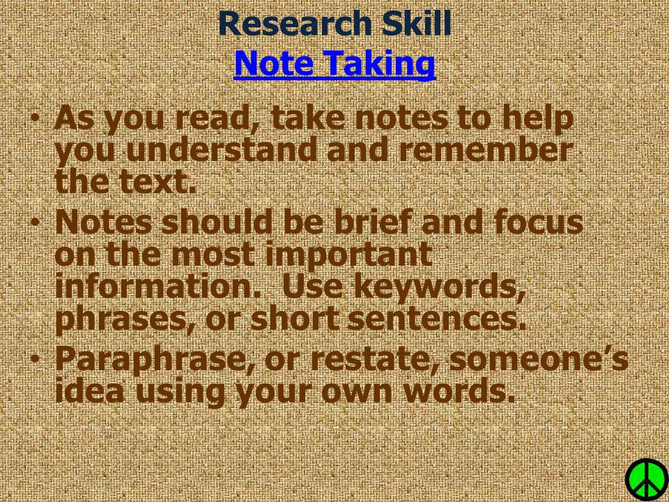 Research Skill Note Taking