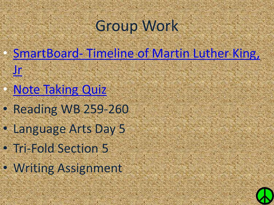 Group Work SmartBoard- Timeline of Martin Luther King, Jr