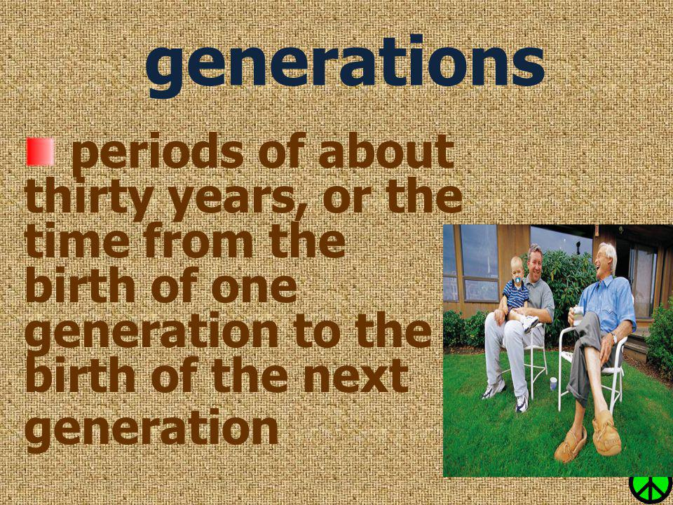 generations periods of about thirty years, or the time from the birth of one generation to the birth of the next generation.