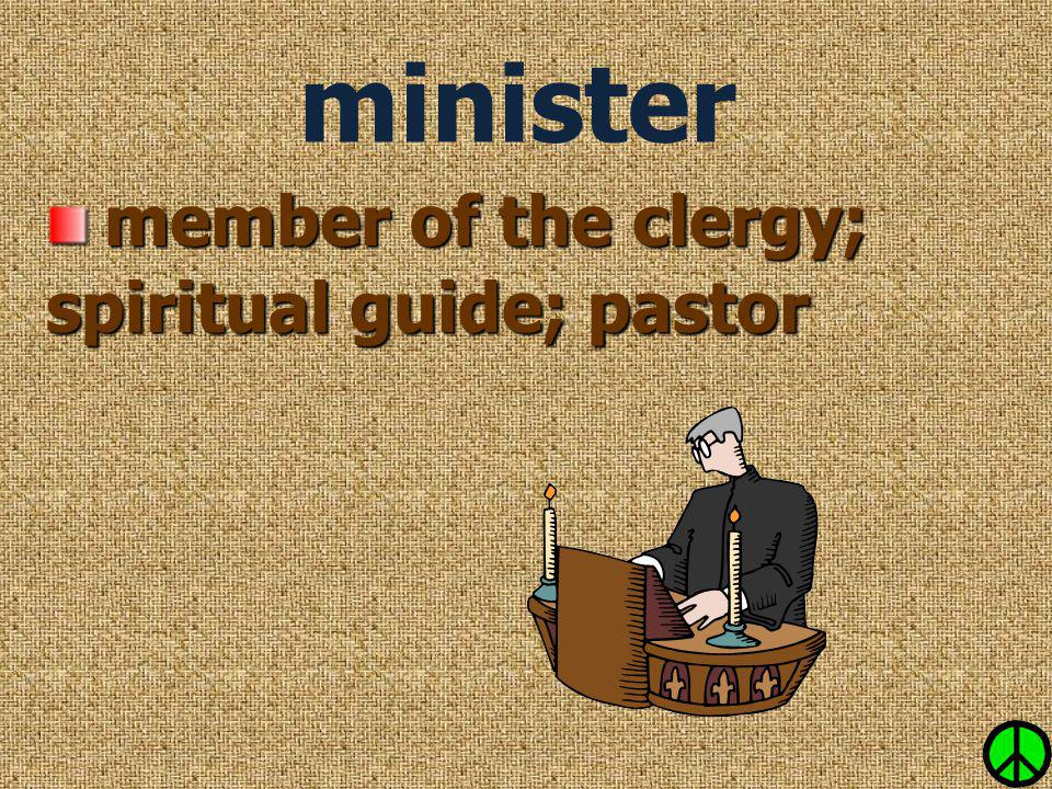 minister member of the clergy; spiritual guide; pastor