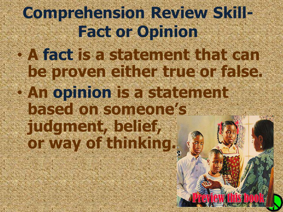 Comprehension Review Skill- Fact or Opinion