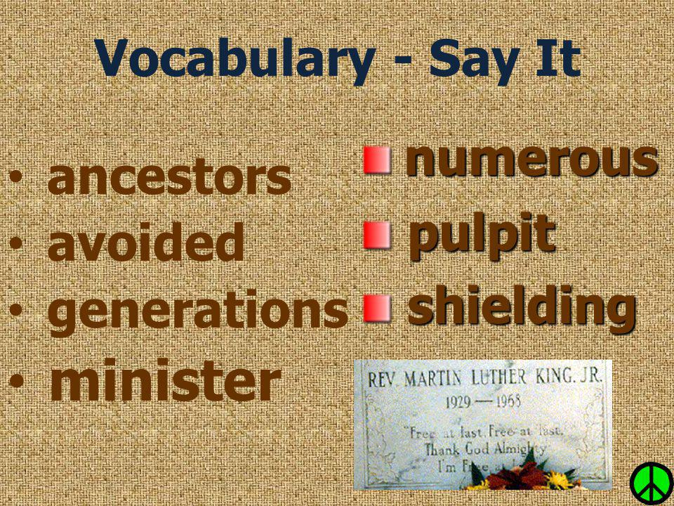 minister Vocabulary - Say It numerous ancestors pulpit avoided