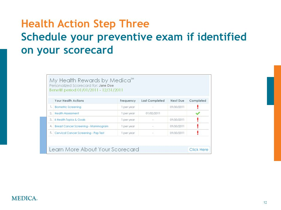 Health Action Step Three Schedule your preventive exam if identified on your scorecard
