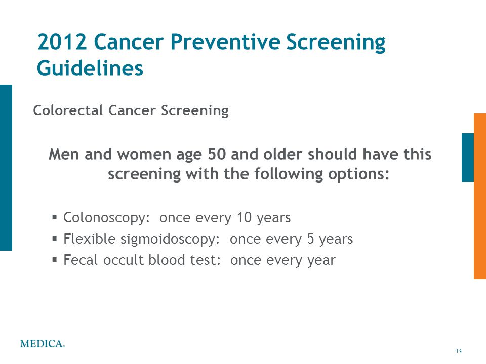 2012 Cancer Preventive Screening Guidelines