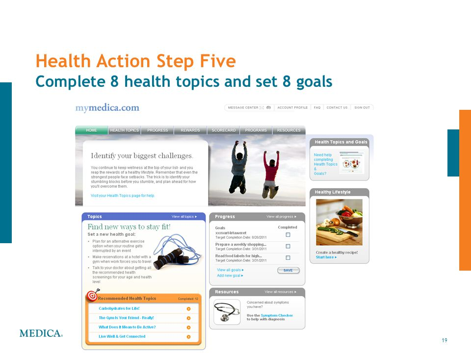 Health Action Step Five Complete 8 health topics and set 8 goals