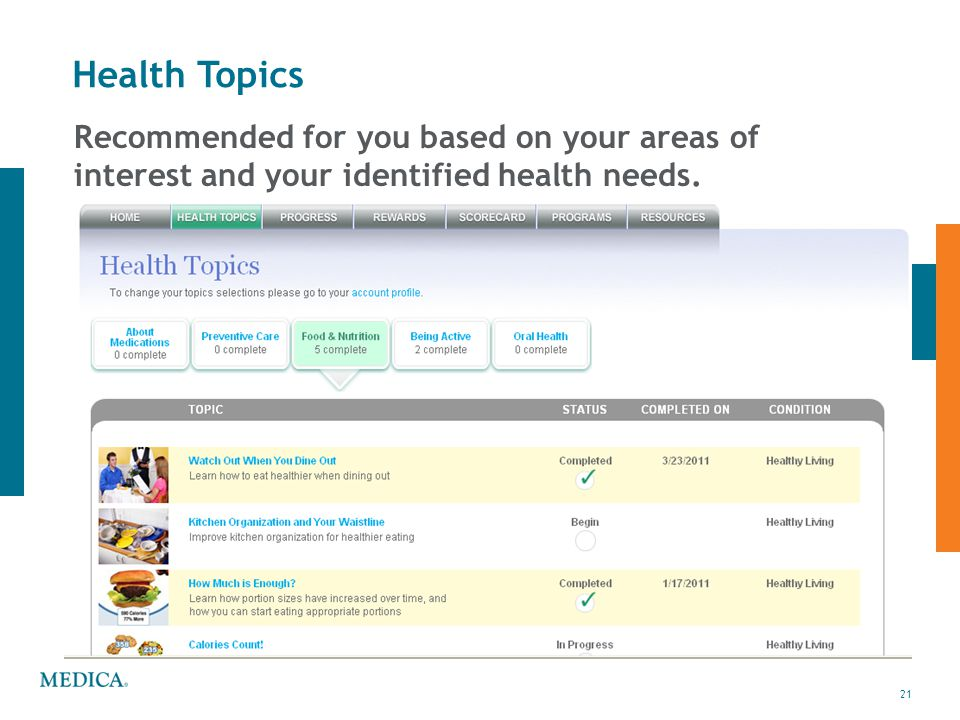 Health Topics Recommended for you based on your areas of interest and your identified health needs.
