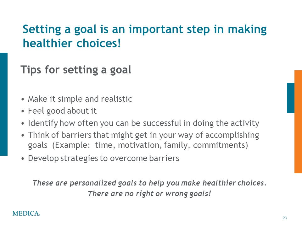 Setting a goal is an important step in making healthier choices!