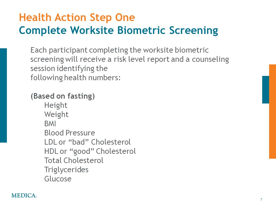 Health Action Step One Complete Worksite Biometric Screening