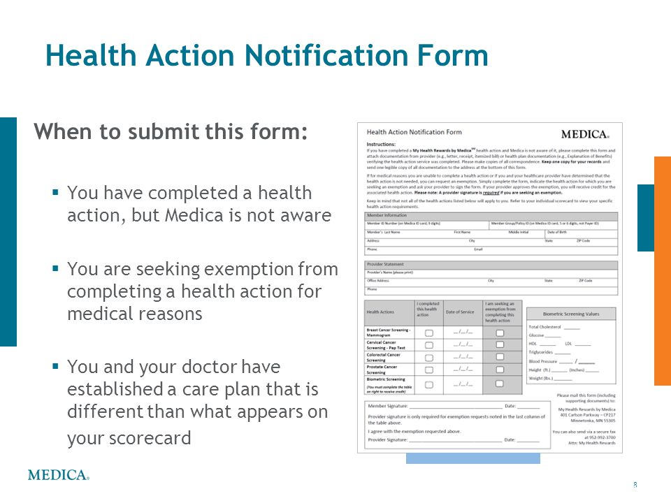 Health Action Notification Form