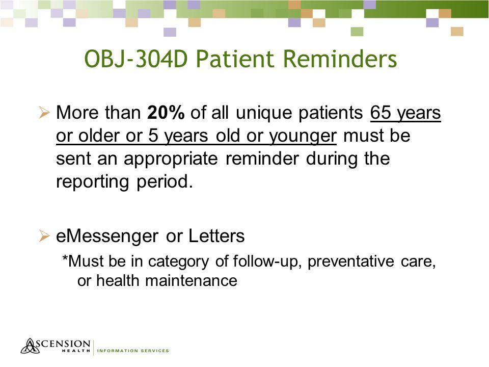 OBJ-304D Patient Reminders