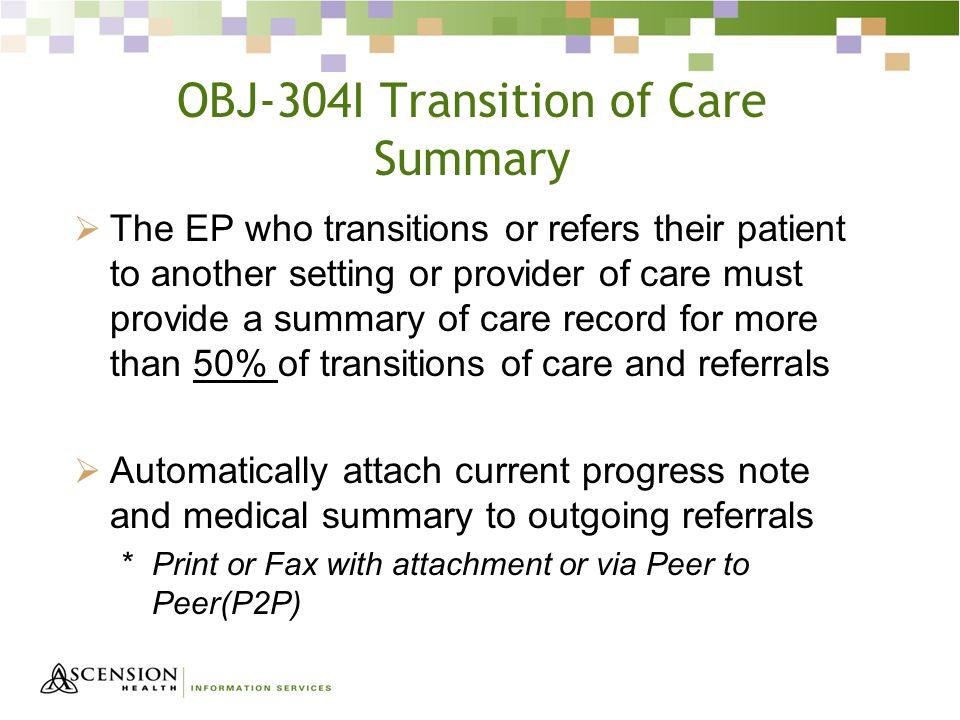 OBJ-304I Transition of Care Summary