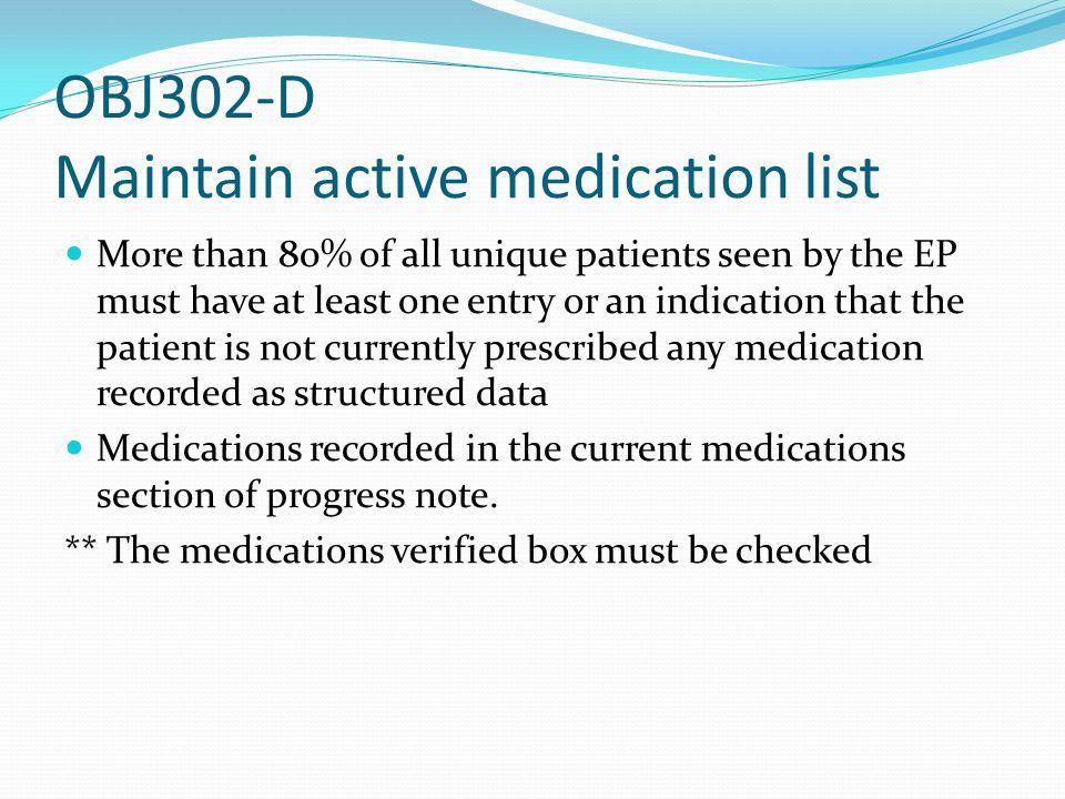 OBJ302-D Maintain active medication list