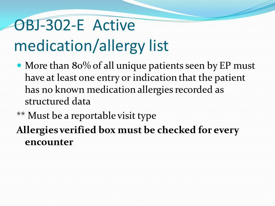OBJ-302-E Active medication/allergy list
