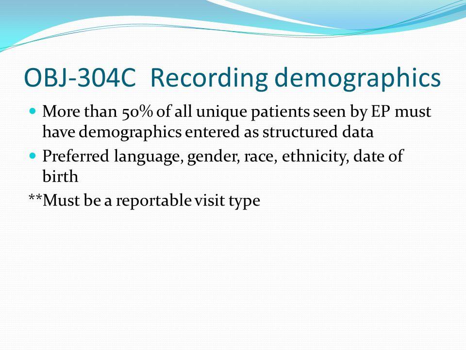 OBJ-304C Recording demographics