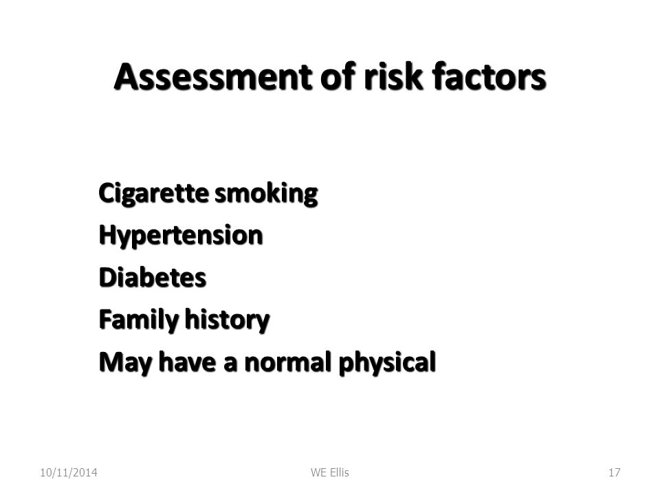 Assessment of risk factors
