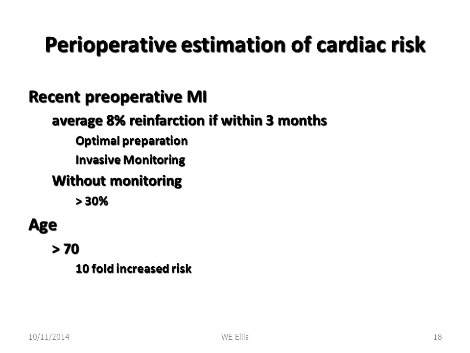 Perioperative estimation of cardiac risk