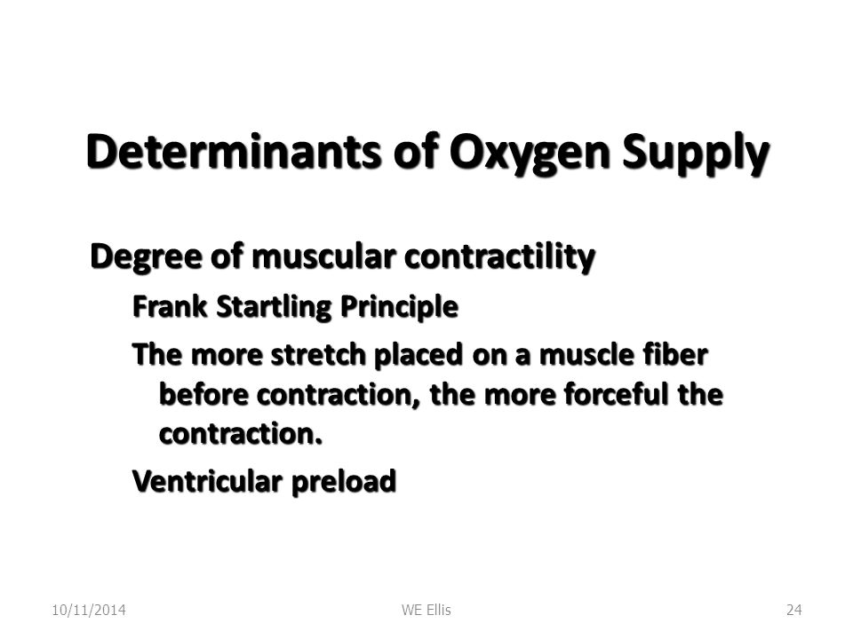 Determinants of Oxygen Supply