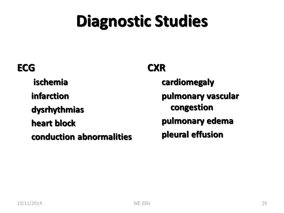 Diagnostic Studies ECG CXR ischemia infarction dysrhythmias