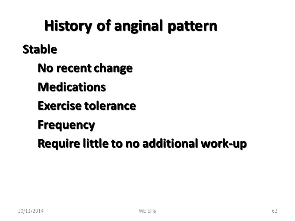 History of anginal pattern