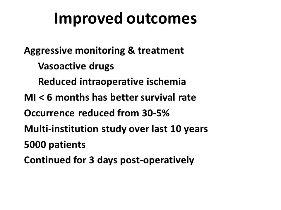 Improved outcomes Aggressive monitoring & treatment Vasoactive drugs