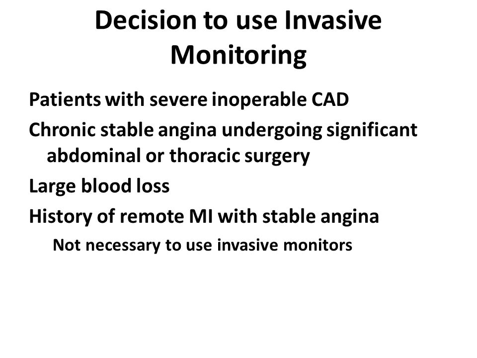 Decision to use Invasive Monitoring