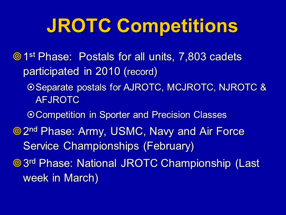JROTC Competitions 1st Phase: Postals for all units, 7,803 cadets participated in 2010 (record)