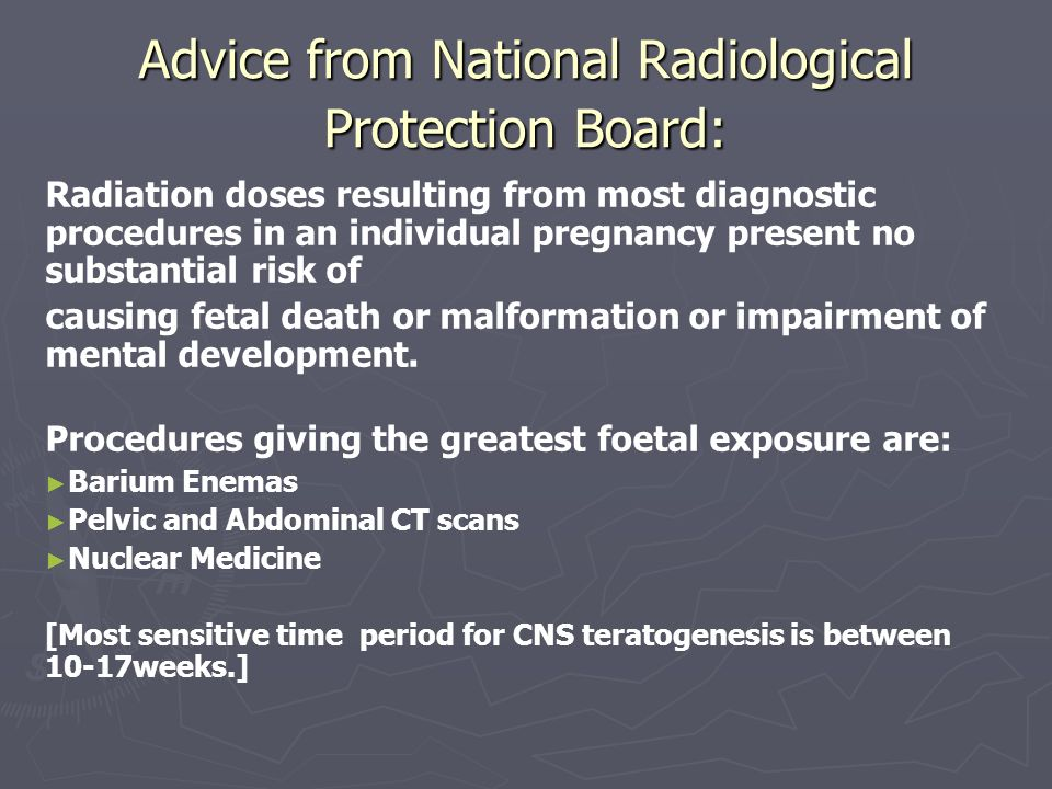 Advice from National Radiological Protection Board: