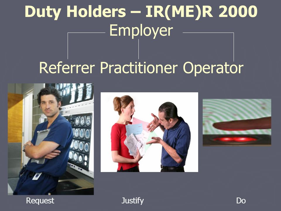 Duty Holders – IR(ME)R 2000 Employer Referrer Practitioner Operator