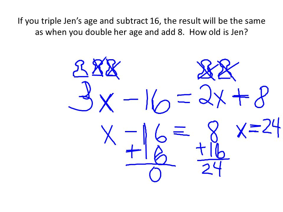 If you triple Jen's age and subtract 16, the result will be the same as when you double her age and add 8.