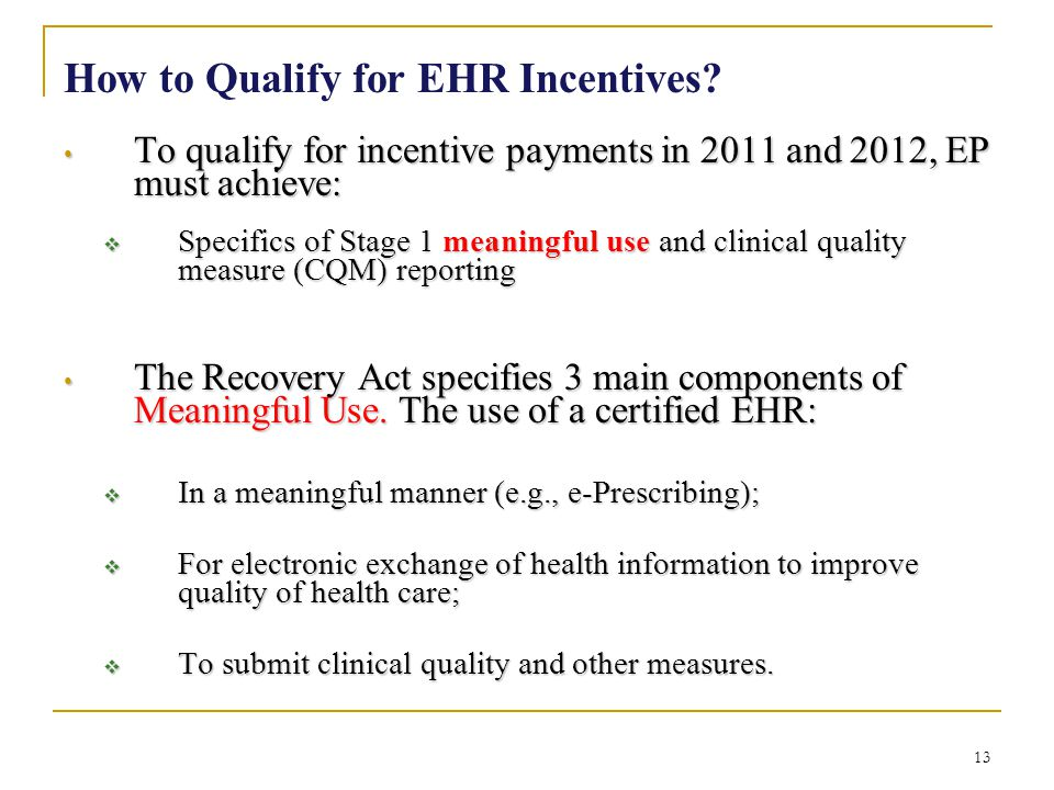 How to Qualify for EHR Incentives