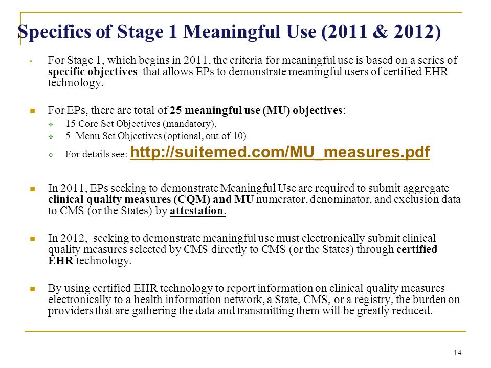 Specifics of Stage 1 Meaningful Use (2011 & 2012)