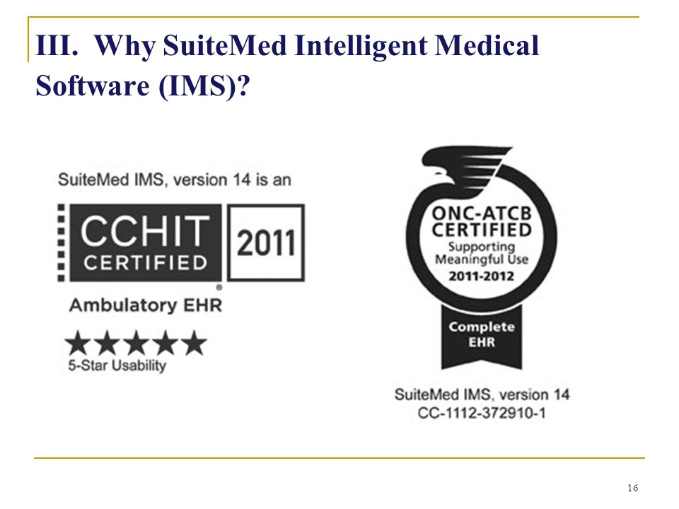 III. Why SuiteMed Intelligent Medical Software (IMS)