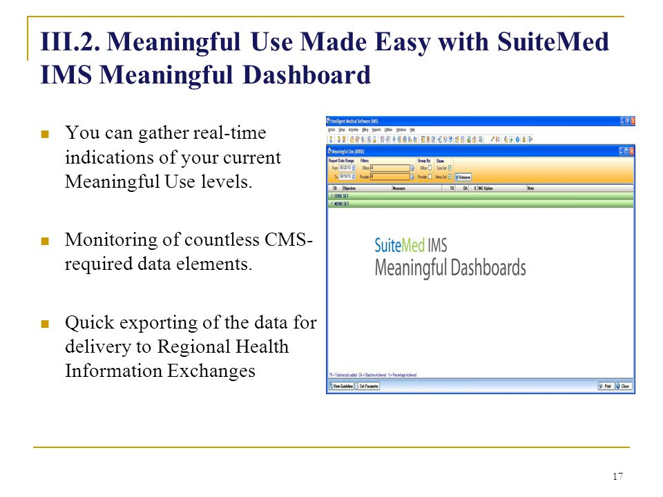 III.2. Meaningful Use Made Easy with SuiteMed IMS Meaningful Dashboard