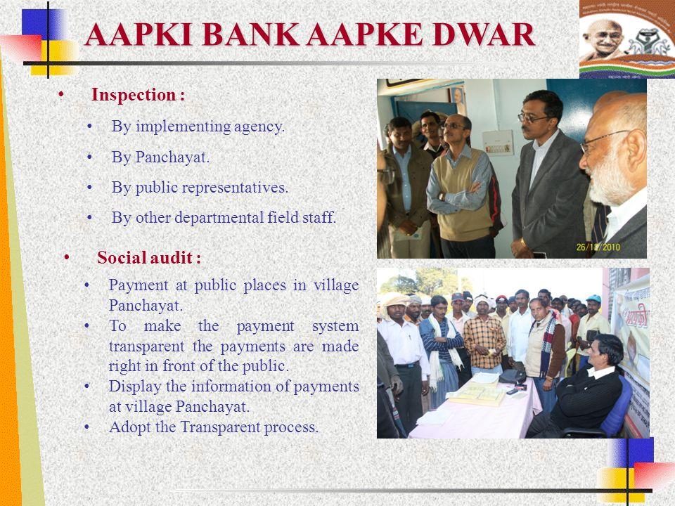 AAPKI BANK AAPKE DWAR Inspection : Social audit :