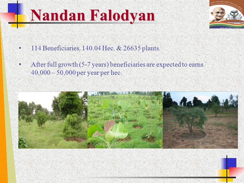 Nandan Falodyan 114 Beneficiaries, 140.04 Hec. & 26635 plants.