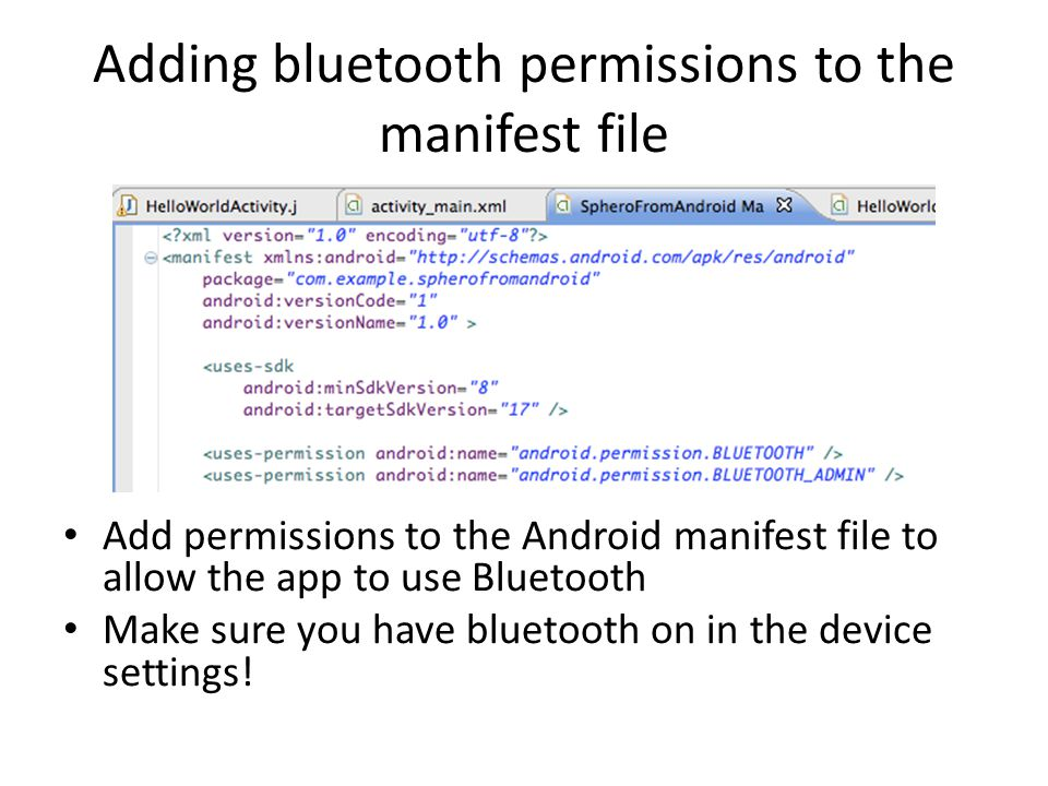 Adding bluetooth permissions to the manifest file