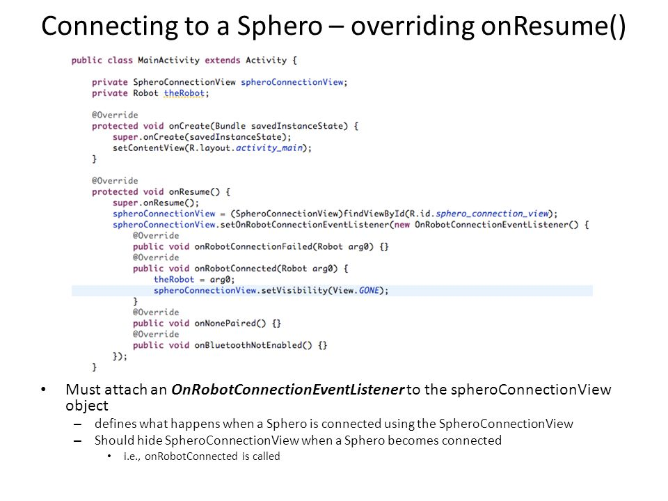 Connecting to a Sphero – overriding onResume()