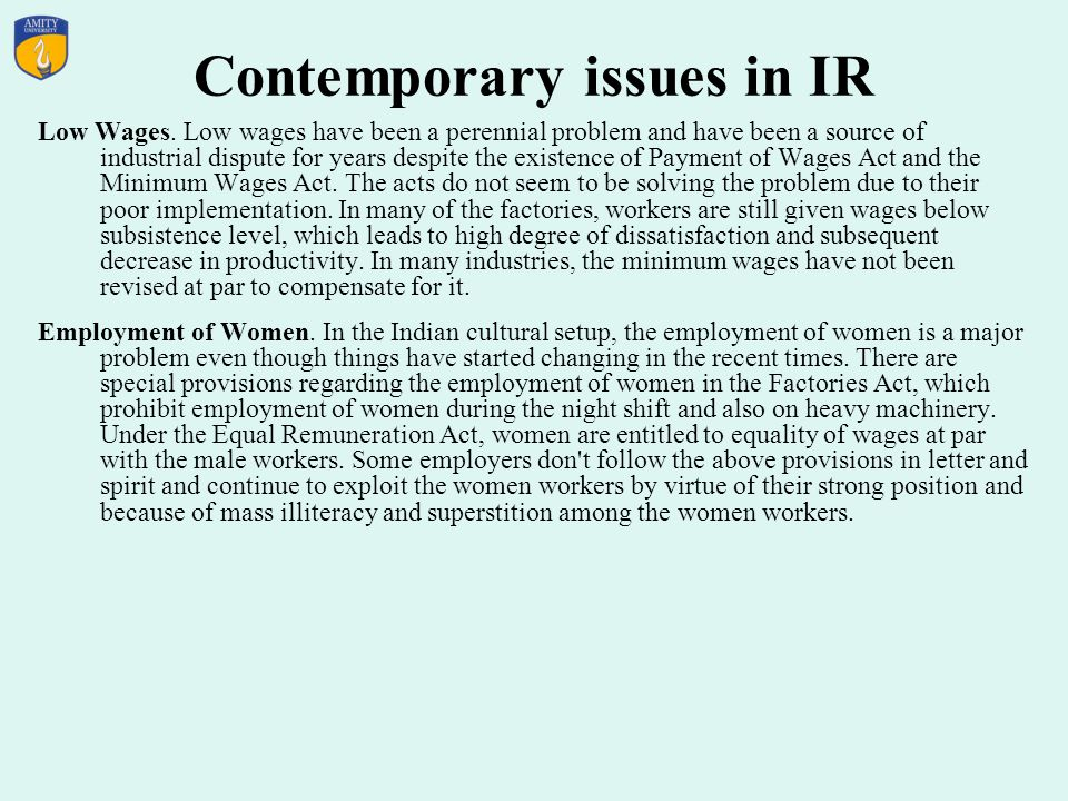 Contemporary issues in IR