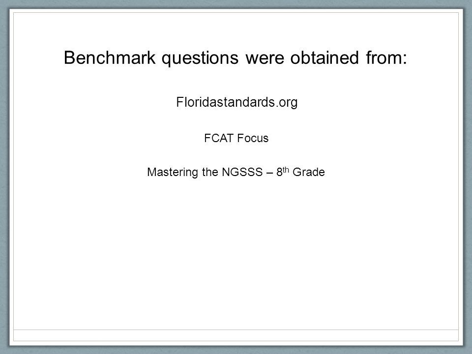 Benchmark questions were obtained from: